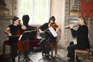 Violoncello, Violine und Querflöte